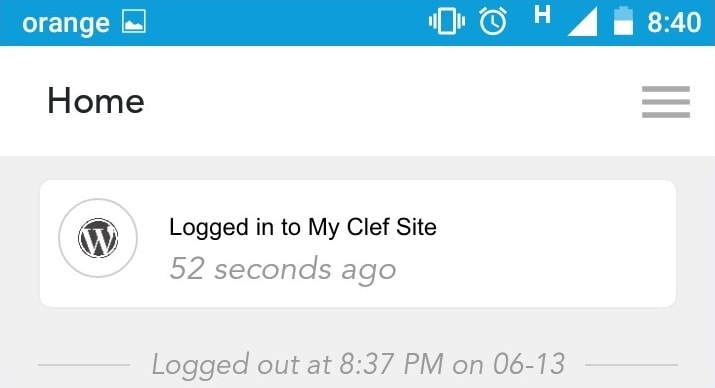 Logged In on Wordpress with Clef