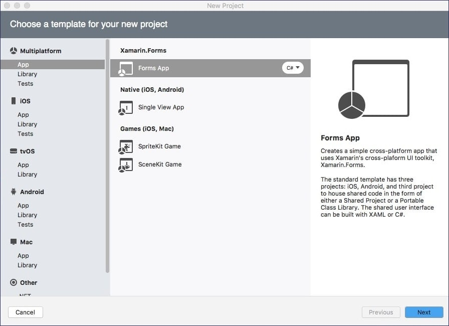 Xamarin.Forms Template for New Project