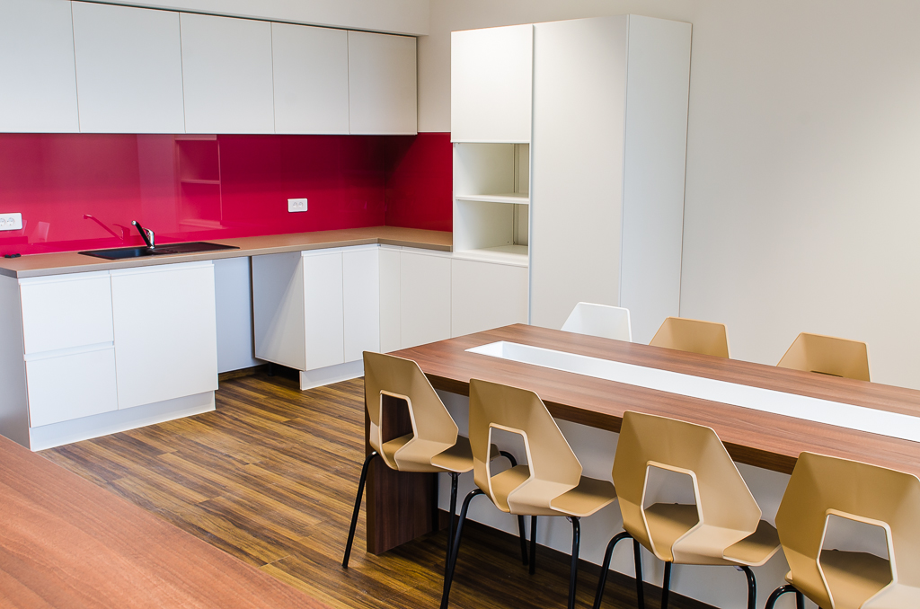 Fortech new office - cosy and colourful kitchen