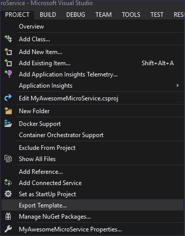 Export Visual Studio Template